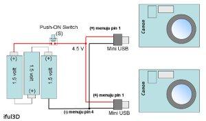 skema sederhana, tegangan 4.5 volt positif diberikan ke pin no. 1 pada mini USB
